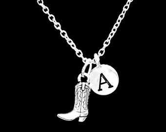 Initial Necklace, Gift For Her, Cowgirl Boot Necklace, Cowboy Boot Necklace, Country Western Gift Necklace