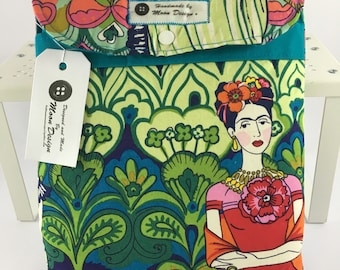 Frida Kahlo Tablet Cover,Frida Kahlo iPad Sleeve,Frida la Catrina,Folklorico, E-reader Cover, Frida Kahlo Book Sleeve,Button Moon Design,