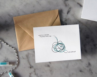 Crazy Letterpress Card — Just Because, Any Occasion, Thank You, Greeting Card