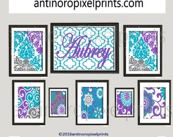 Art Print Damask Wall Prints Collection (Featured in Turquoise Teal Purple Grey)  -Set of (8) Prints (UNFRAMED) #455011188