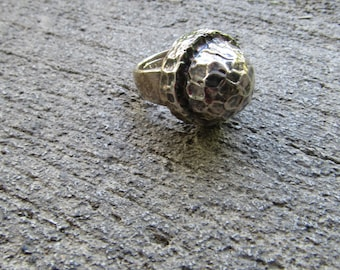 Vintage Boho Ring Sterling Statement Ring Silver Bold Ring Big Tribal Jewelry 925 Silver Size 8 Hammered Silver Jewelry Free People Style