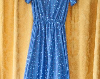Vintage Dress - 80s Polka Dot Ruffle Neck