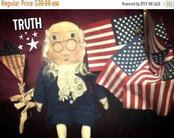 Red,White&BlueSale Primitive Americana Ben Franklin