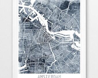 Amsterdam City Urban Map Poster, Amsterdam Street Print, Watercolor Map Amsterdam Netherlands, Grey Indigo, Modern Wall Decor, Printable Art