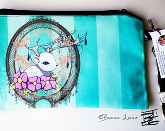 Fawn Catcher Striped Zippered Pouch - Striped Clutch bag Purse Wristlet - Cosmetic pencil school - Bianca Loran Art