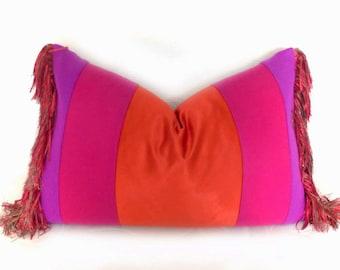 BOHO Pillow Cover, Bohemian Pillows, Pink Pillow, Red Purple Pillow, Unique Pillows, Color Block Pillow, Eclectic Decor, Fringe Pillow 14x20