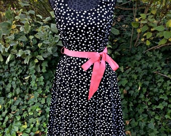 Black and White Polka Dot Dress / Sleeveless Polka Dot Dress / Black and White Polka Dot Midi Dress / Polka Dot Boho Dress - Size 8