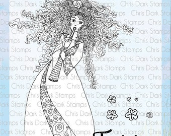 Musical Fairy Stamp Set by Chris Dark - Paperbabe Stamps - Clear Photopolymer Stamps - For paper crafting and scrapbooking.