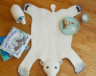 Organic Wool Felt Polar Bear Rug