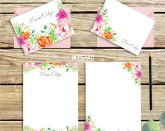 Personalized stationery set -floral stationary - note cards - floral notepad - stationary - printable - letter writing set