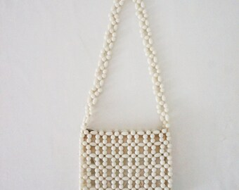 Chunky White Beaded Vintage Purse // Womens Mod Wedding Prom 50s 60s