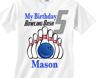 Personalized bowling birthday party shirt - Your childs name for a bowling party