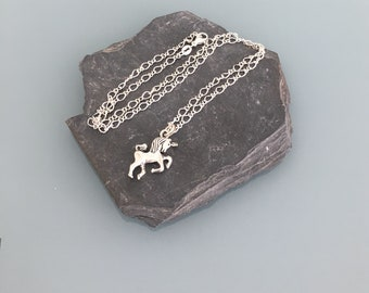 Unicorn necklace in silver, silver necklace with Unicorn pendant, necklace, silver jewelry Unicorn jewelry