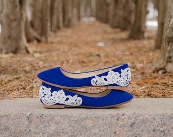 Blue Ballet Flats, Wedding Flats, Blue Flats,Bridal Shoes,Low Wedding Shoes