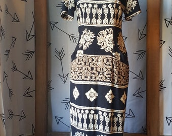Vintage 80s WNY Print Maxi Dress