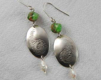 Green Earrings Hammered Earrings Silver Textured Earrings Large Dangle Earrings Gifts for Mom Hammered Jewerly