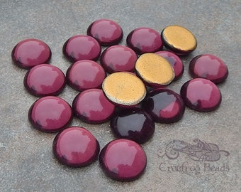 Vintage Cabochons - 13 mm Amethyst Purple - 6 West German Glass Stones