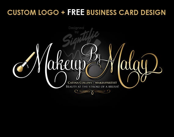 Makeup Artist Logo, Free Business Card Design, Custom Makeup Artist Logo in Gold and White Lettering, Beauty Salon Logo, Calligraphy Logo