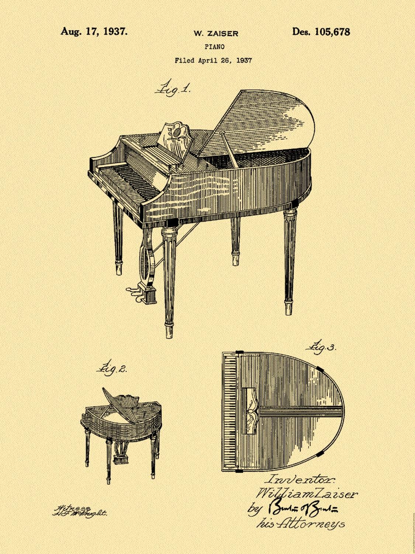 Patent 1937 Wurlitzer Piano - Grand Piano - Music Art Print - Poster ...