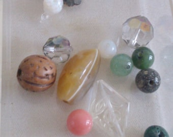 About 40 Mixed Beads, some Green to make something