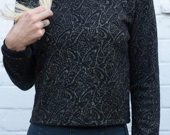 Black/ gold thread cropped jumper