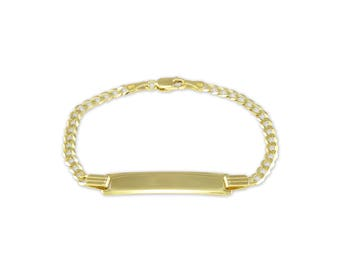 14K Solid Yellow Gold Cuban ID Bracelet - Baby Kids Name Plate Link - Free Engraving