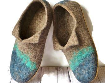 Men's felt slippers, Felted wool slippers for man,  Men house shoes, Mens shoes wool, handmade slippers wool, felted wool slippers