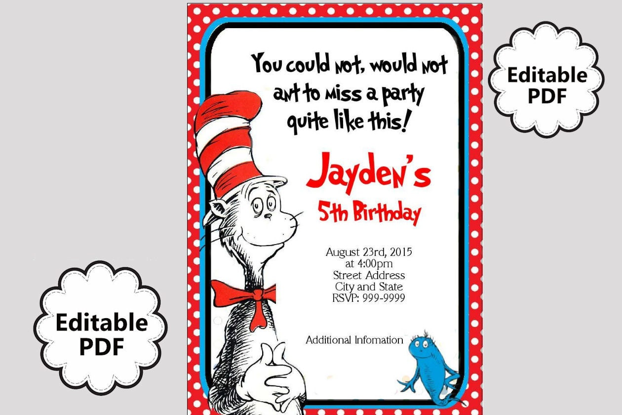 EDITABLE TEXT Dr Seuss Birthday Invitation Dr Seuss Party