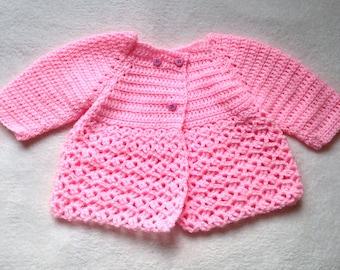 Pastel Pale Light Pink Crocheted  Baby Girls Cardigan 0-3 months Newborn