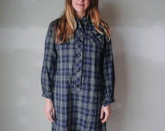 1970s plaid shirt dress