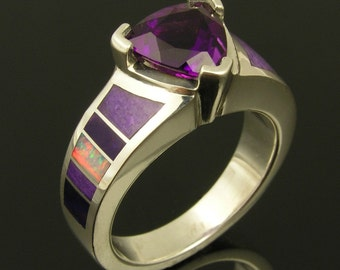 Australian opal, sugilite and amethyst ring in sterling silver by Hileman Silver Jewelry