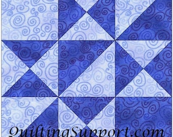 Snow Ride 10 Inch Paper Piece Foundation Quilting Block Pattern PDF