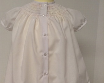 Ready to Smock Bishop Style Infant Daygown Plain Bound or Pleated Sleeves Made to order 0-6m