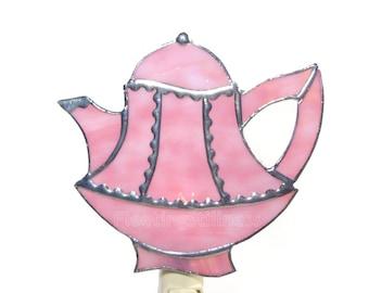 Teapot Nightlight Stained Glass Pink Night Light Handmade OOAK