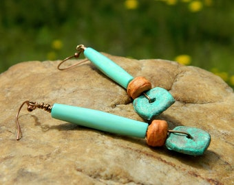 Light Turquoise Bone and Stoneware Clay Beads Earrings