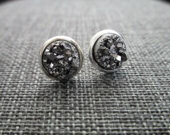 Gunmetal Druzy in Silver Bezel Settings . Studs . Earrings
