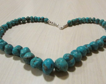 """Turquoise Rough Bead Necklace.  19 1/4"""" Long"""