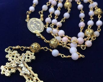 Gold-Colored Natural Shell Rosary