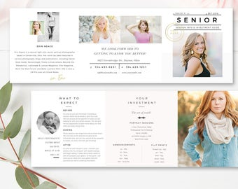 Senior Pricing Template 5x5 Accordion Trifold, Senior Trifold 5x5 Brochure, Photographer Brochure, Photoshop Template, INSTANT DOWNLOAD
