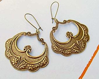 boho earrings traveler gift bohemian jewelry brass Art Nouveau Jewelry flamenco dancer