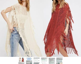 Crochet poncho PATTERN, detailed tutorial in ENGLISH for every row with charts, beach boho lacy crochet poncho PATTERN, designer crochet top