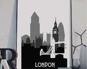 London Silhouette poster, London print, Silhouette poster, London gift, London skyline,