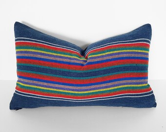 Lumbar Pillows, Striped Pillow, Throw Pillow Covers, Blue Denim Pillows, Accent Pillow, Southwestern Pillow, 14x20, Colorful, Cushion Cover