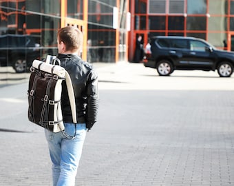 Roll leather backpack