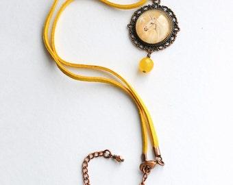 Yellow Unicorn Necklace, Unicorn Necklet, Vegan Suede Necklace, Unicorn Jewellery, Cord Necklace, Amanda Drage Art