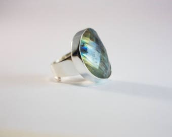 Lovely Faceted Labradorite Ring set in Sterling Silver with Adjustable Band - Labradorite Jewellery - Gemstone Ring