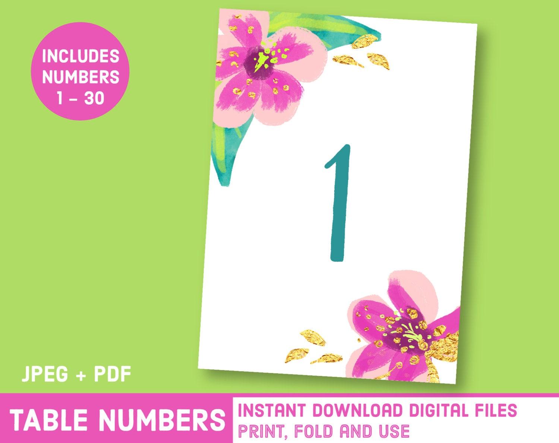 Printable Hawaii Wedding Hibiscus Table Numbers Watercolor