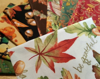 Fall fabric  9 Fat Quarter bundle Quilting Fabric/9 Fat quarters/novelty fabric/Leaves,Turkeys,Acorns, Birds and More! 100% cotton