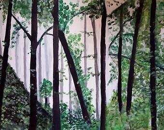 Forest Original Acrylic Painting Nature Painting Forest wall art Forest Painting Original Painting Original Art