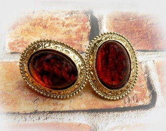 Gold Amber earrings Vintage , Amber Post Stud Earrings -Amber Gold earrings -  Earrings for mom, Gift under 20 - # J 15